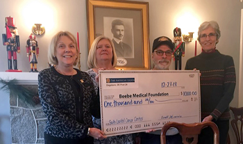 Shown (left to right) are Beebe Medical Foundation President Judy Aliquo, Post 24 Auxiliary President Donna Difrancis, Post 24 Adjutant Ron Difrancis, and Beebe Medical Foundation Gift Planning Officer Diane Barlow.