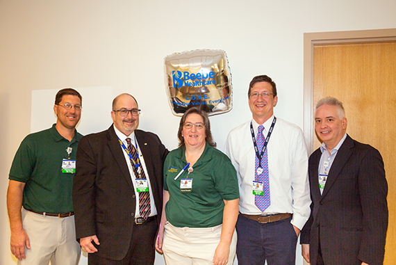 Brenda Hackett-Brown, center, is the recipient of Beebe Healthcare's April 2019 L.O.V.E. Letter. Also pictured from left to right are Steve Horn, Manager of Rehab Services; Rick Schaffner, Interim CEO; Joseph Skocypec, Director Clinical Operations for Phy