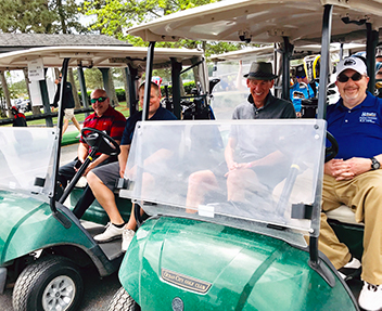 Beebe Healthcare team members participate in the Michael A. Ruddo Golf Invitational. Pictured left to right, Paul Pernice, CFO, Justen Albright, Financial Analyst, Beebe Medical Foundation, Bruce Leshine, General Counsel, and Rick Schaffner, RN, Interim C