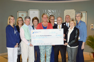 Bethany Area Realty presented a check for $5,000 to Tunnell Cancer Center and Beebe Medical Foundation on February 27. Shown (left to right) in back are Shannon Hager, RN; Clare Wilson, RN, MS; Kathy Marks, RN, OCN; and Jill Abbott, RN, all of Tunnell Can