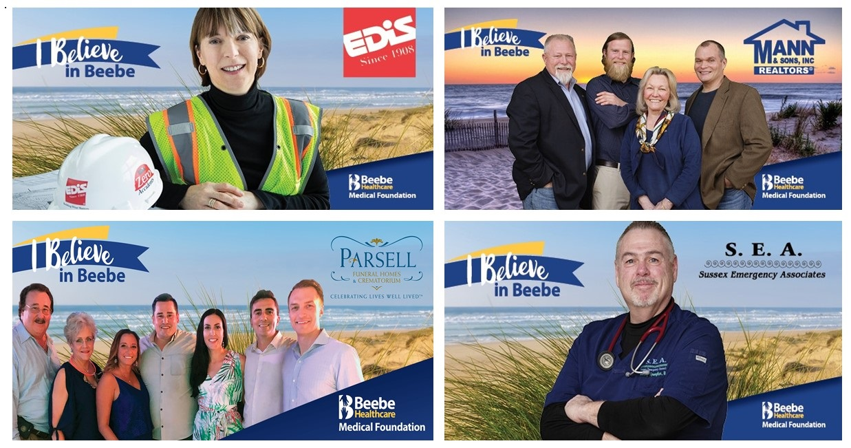 The four billboards of Beebe Believers, EDiS Company, Mann & Sons, Inc. Realty, Parsell Funeral Homes & Crematorium, and Sussex Emergency Associates.