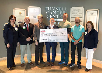Lisa Henderson, Tunnell Cancer Center; Tom Protack, Vice President of Development, Beebe Medical Foundation; Diane Barlow, Beebe Medical Foundation; Barry Hamp, Executive Director, Oncology Services; Adam Howard, The Body Shop; Bruce Clayton, The Body Sho