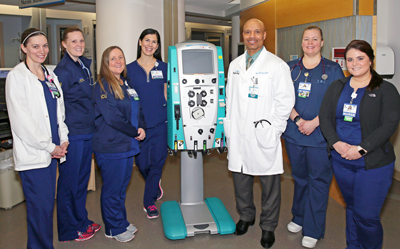 Left to right: Noelle Bolingbroke, RN; Jill Petrone, RN; April Ahlers, ICU Nurse Manager; Vicky Yurisic, RN; Dr. Jose Saez; Dawn Wheway, RN; Bethany Campbell, RN