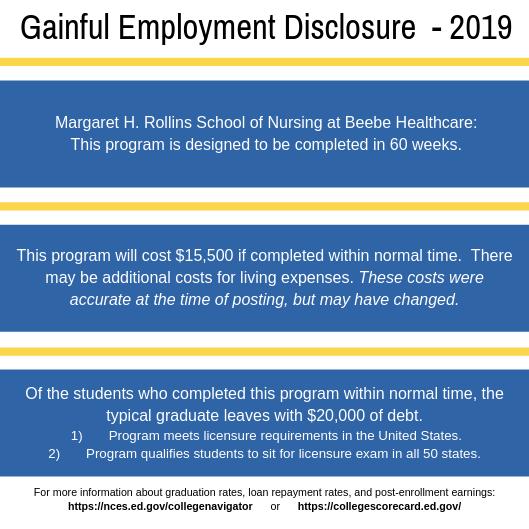 Gainful Employment Disclosure 2019