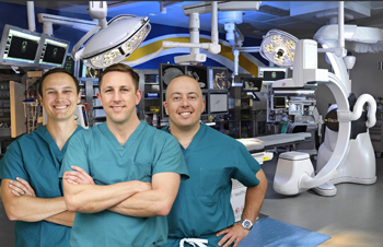 Beebe vascular surgeons in Hybrid Operating Room space.
