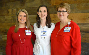 Shown (left to right) are Kelsi Warrington of Georgetown, Angela Baker of Georgetown, and Tracy Bell, Margaret H. Rollins School of Nursing Program Coordinator.
