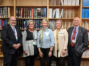 Health Sciences Librarian Jean Winstead (center) is the recipient of Beebe Healthcare's November 2018 L.O.V.E. Letter. Also pictured from left to right are Rick Schaffner, Chief Operating Officer; Ellen Tolbert, Director, Case Management; Karen Pickard, P