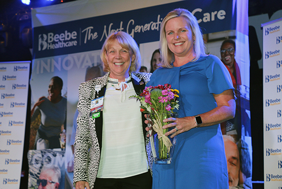 Judy Aliquo, CFRE, President and CEO Beebe Medical Foundation, and Karen Pickard, MSN, RN, CNE, Margaret H. Rollins School of Nursing Program Administrator, pose for a photo at the Nursing Excellence Awards. Pickard was awarded with the first Nursing Phil