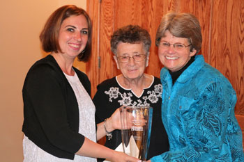 Shown accepting the Eleanor Cordrey Nursing Excellence Award is Kathleen Short, right, with Kristin Redd, left, of the Nurses Celebrating Nurses Committee, and Eleanor Cordrey, center.