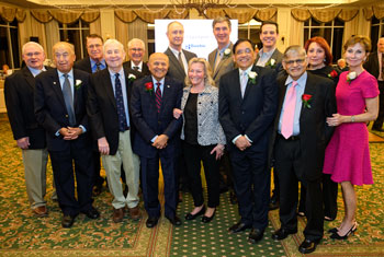 Shown (left to right) in back are Mike Klingel, son of the late Dr. Robert Klingel; Michael Cahoon, DMD; Jose Barriocanal, MD; Kirk Beebe, MD; Eric Hale, MD; John Spieker, MD; and Shirin Saberi, wife of the late Dr. Mansour Saberi. In front are Anis Salib