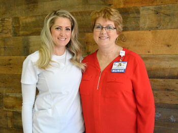 Shown (left to right) are Angela Strong and Tracy Bell, School of Nursing Program Coordinator.