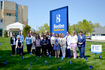 Beebe team members plant pinwheels for Child Abuse Prevention Month