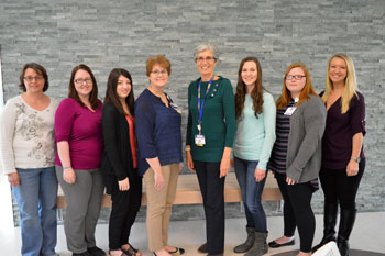 Shown are (left to right) Cara Melendez, Chelsea Lehrer, Rebecca Tillman, Tracy Bell, Program Coordinator at the Margaret H. Rollins School of Nursing, Diane Barlow of Beebe Medical Foundation, Angela Baker, Kelly Staples, and Kylie Powell.