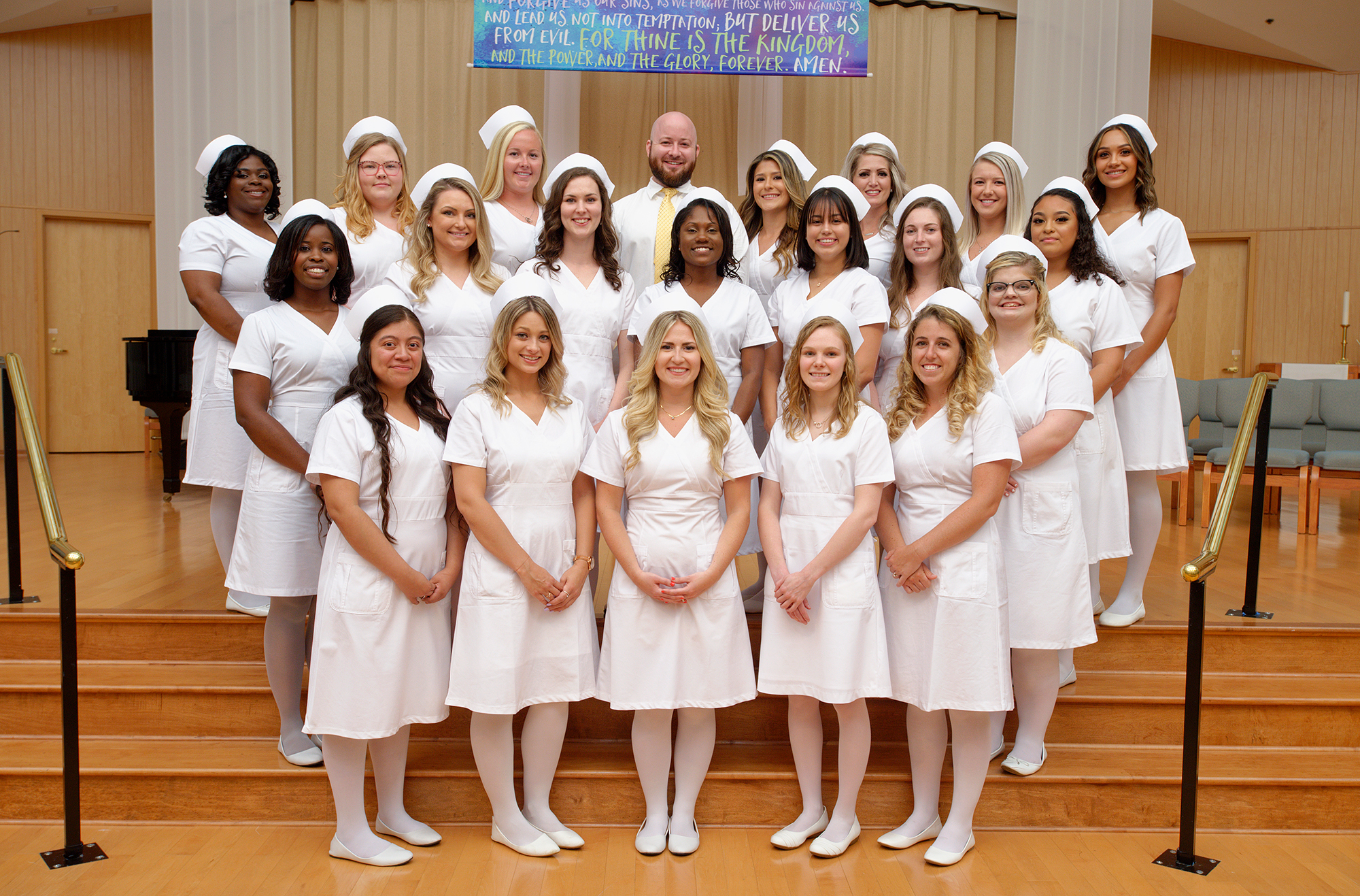 The Margaret H. Rollins School of Nursing class of 2019 ranked No. 1 in the state after the group finished with an 100% pass rate for the NCLEX exam.