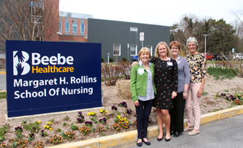 Judy Aliquo, CFRE, President and CEO, Beebe Medical Foundation, left, with Karen Pickard, MSN, RN, CNE, School of Nursing Program Administrator; Tracy K. Bell, MS, RN, CMSRN, CNE, School of Nursing Program Coordinator; and Diane Barlow, Gift Planning Offi