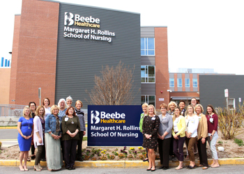 The Margaret H. Rollins School of Nursing faculty poses with members of the Beebe Medical Foundation after the announcement of the Ma-Ran Foundation's gift of the $1.1 million Margaret H. Rollins Endowment Fund for faculty to pursue advanced degrees and p