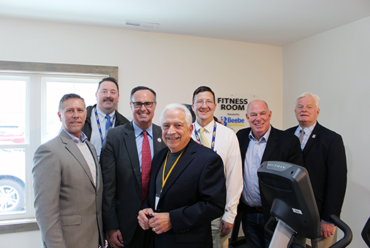 From left to right, Rep. Steve Smyk, Tim Phelps, Manager, Physical Rehabilitation Services, Sen. Ernie Lopez, Andy Zamini, Board President, Joe Skocypec, Director of Physical Rehabilitation Services, Rep. Pete Schwartzkopf, and Lewes Mayor Ted Becker, pos
