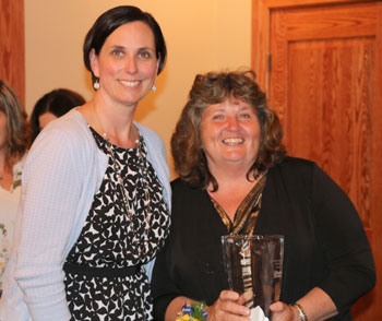 Shown accepting the Certified Nursing Assistant Award is Denise Hill, right, with Tara Cooper, nurse manager.