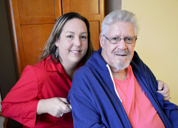 Tera Fazal and her grandfather H. Richard Valentine enjoy time together following his Micra pacemaker procedure.