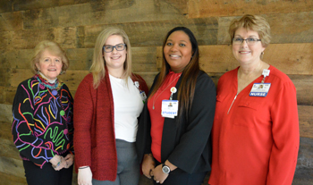 Shown (left to right) are Carole Suchanek, VIA President; Tara Holstein of Milford; Kerry Carr of Delmar; and Tracy Bell, Margaret H. Rollins School of Nursing Program Coordinator.