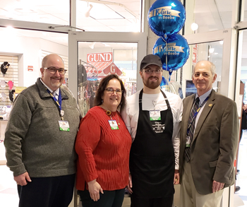 Pictured from left to right are Rick Schaffner, Chief Operating Officer; Kathi Fryling, Director of Support Services; Dietary Assistant Brian Wells, the recipient of Beebe Healthcare's February 2019 L.O.V.E. Letter; and Jeffrey M. Fried, President and CEO