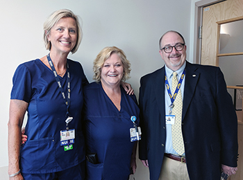 Nancy Hastings, RN, IBCLC, center, is the recipient of Beebe Healthcare's July 2019 L.O.V.E. Letter. Also pictured are Bridget Buckaloo, MSN, Executive Director, Women's and Children's Services and Rick Schaffner, Interim CEO, Executive VP & Chief Operati