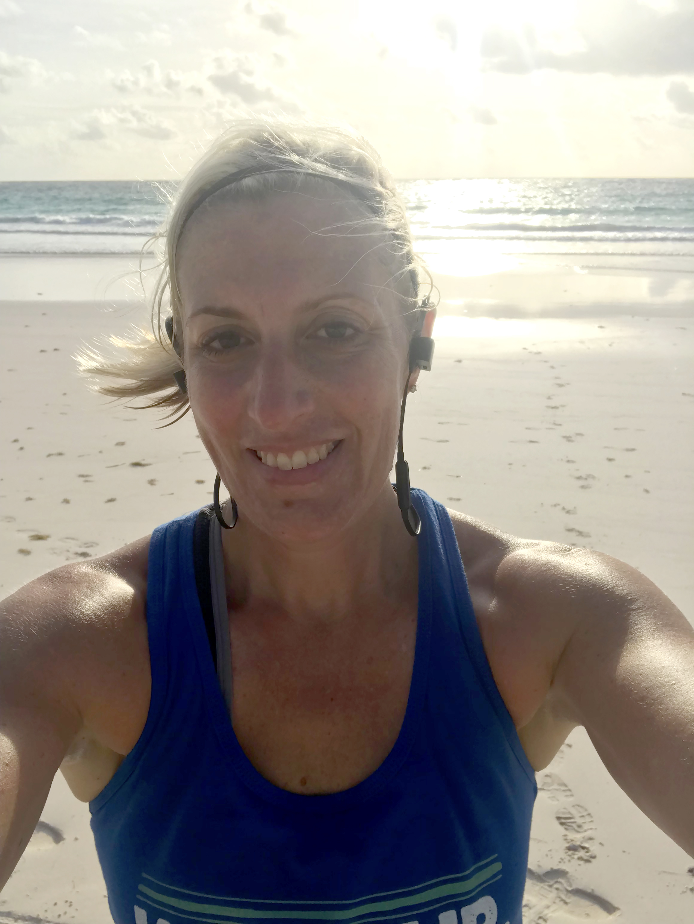 Alison Houck doesn't let vacation stop her from exercising. Here she is running on the beach in the Bahamas.