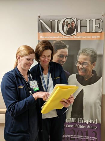 Dareth Penuel, RN, left, and Lisa Collord, RN, BSN, are two Beebe Healthcare nurses who are recognized as geriatric resource nurses (GRN) after training through the NICHE program.
