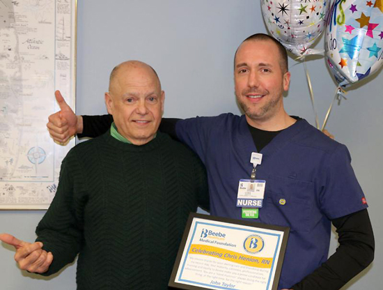 John Taylor is grateful for the care he received from Chris Henion, RN, at Beebe.