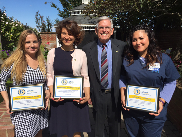 Don Brownlee presented Celebrate Excellent Care awards to members of his late wife's care team.