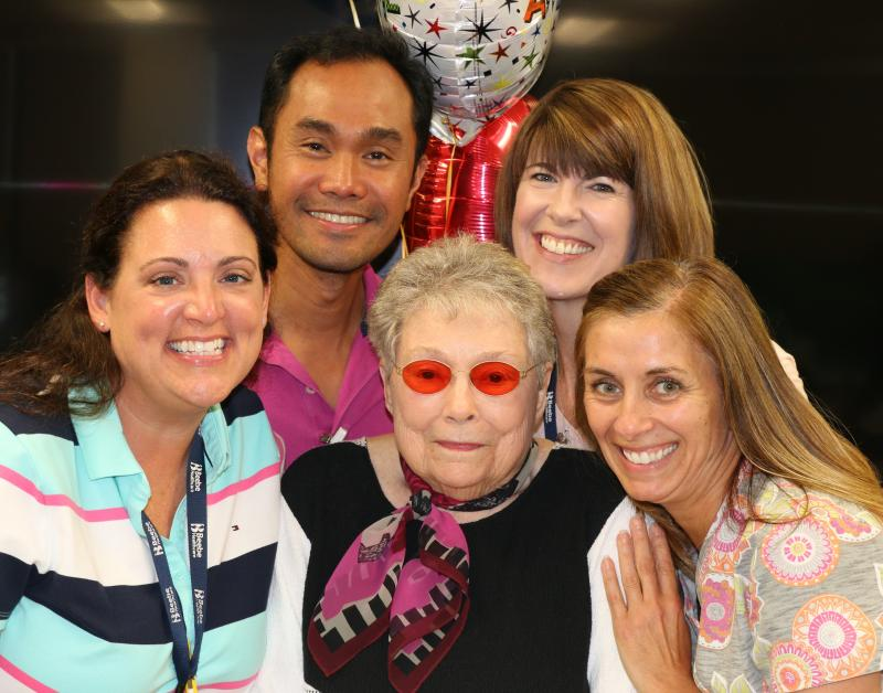 Jackie Finer celebrates the excellent and personalized service she received from her Beebe Home Health Care team. Surrounding her are (l-r) Katie Tidwell, Allan Ragpa, Sally Dziak and Paula Linder.