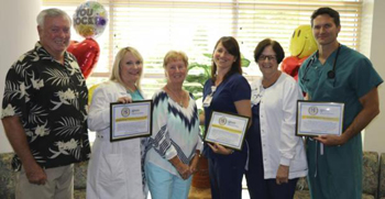 Celebrating Excellent Care are (l-r) Phil Donahue, Nurse Practitioner Charlene Madanat, Marion Donahue, Anne Villalobos, RN, Sherry Daisey, RN and Dr. Robert Myers, interventional cardiologist.