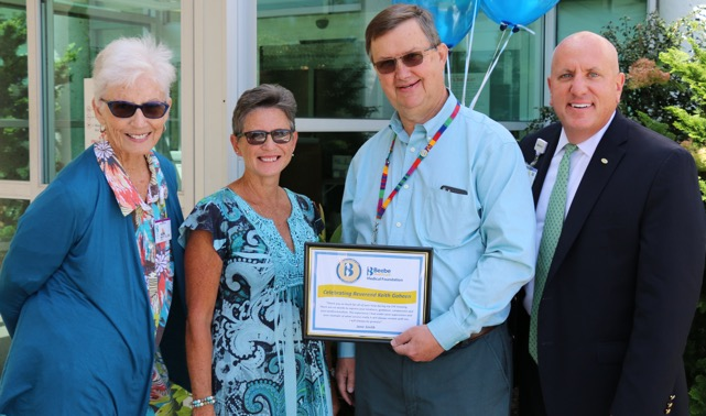 Celebrating Excellent Care are (l-r) Mary Ellen South, Jane Smith, Chaplain Keith Goheen and Tom Protack, vice president of development, Beebe Medical Foundation. SUBMITTED PHOTO