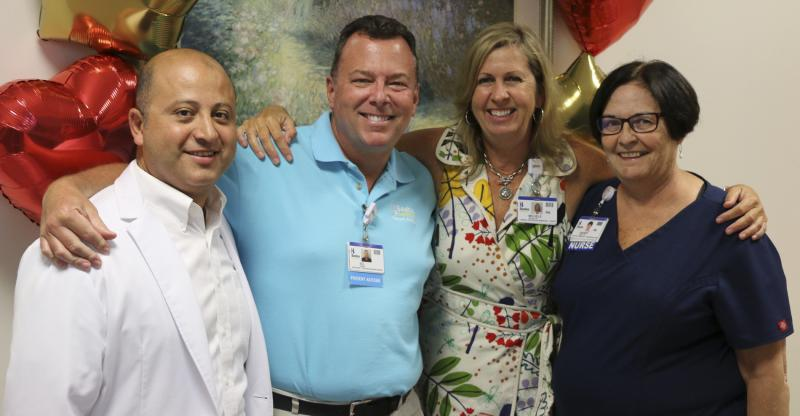 Shown Celebrating Excellent Care are (l-r) some of the Beebe team members who cared for Michele: Dr. Firas El Sabbagh, Sol Oxman, Michele Seiler and Sherry Daisey.