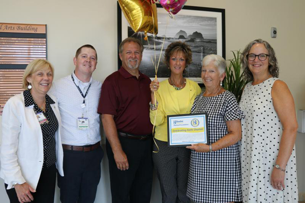 Celebrating excellent care are (l-r) Judy Aliquo, Beebe Medical Foundation president and CEO; Christopher Steele, director of respiratory, neurology and sleep services; Steve Dayton; pulmonary tech Kathi Dayton; and grateful patient Maureen Meloche and he