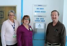 Gull House Administrative Secretary Karen Kreiser, Manager Kathleen Graham-Frey, and Bob Schnepfe of Rehoboth Beach (l-r) celebrate his generous gift to Beebe Healthcare's Gull House in recognition of its recent relocation to Lewes.