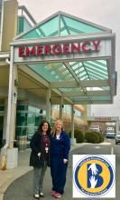 Lyndy Darwicki, left, takes time to celebrate the care provided to her mother-in-law, Dorothy, by Emergency Department Nurse Amber Bennett, right.