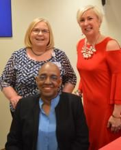 Debbie Campbell, Rep. Ruth Briggs King, and Cynthia Gooch Copley at the Tunnell volunteers luncheon 2018.